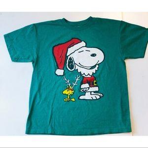 Snoopy Woodstock Christmas Santa Shirt Peanuts S